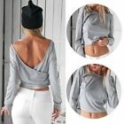Summer Lady Backless Crop Top Solid Crew Neck Casual Long Sleeve T-shirt Blouse