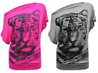 Women Ladies Glitter Tiger Face Print Oversize Baggy Batwing Top Shirt