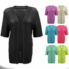 New Womens Ladies Crochet Short Sleeve Fish Net Cardigan Top Plus Size
