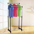 Double Clothes Rail Dress Hanging Display Free Standing On Wheels Adjustable UK
