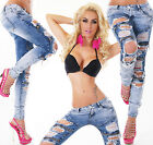 Sexy Women's Blue Destroyed Jeans Trousers Skinny Hipsters With Zippers Y 581
