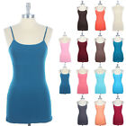 Junior Size BUILT-IN Shelf Bra Adjustable Spaghetti Strap Solid Camisole Tank To