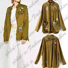 Letter Badge Patch Military Green Button Down Shirt Loose Coat Overshirt Tops