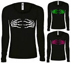 SKELETON HANDS,HALLOWEEN,TATTOO,ROCKABILLY,LADIES LONG SLEEVE,T SHIRT,S-XXL