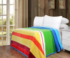 DaDa Bedding Cozy Bright Striped Rainbow Soft Warm Flannel Fleece Throw Blanket  image