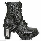 NewRock NEW ROCK NEOTR008-S24 BLACK VINTAGE PRINT ROCK PUNK LADIES LEATHER BOOTS