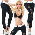 Sexy New Women's Black Stretchy Jeans Trousers Skinny Slim Incl. Belt N 036