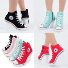 Womens Shoes Canvas Wedge High Top Heel Lace Up Fashion Sneakers 777 Side Zipper