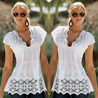 New Women V-Neck Lace Vest Top Sleeveless Blouse Casual Tank Tops T-Shirt