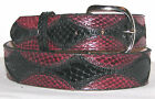 READ DESCRIPTION BEFORE PURCHASE Genuine Black & Burgundy Python Snake Skin Belt