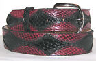Genuine Black & Burgundy Python Snake Skin Belt sizes 24 to 48