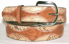 Genuine Cognac Ostrich & Beige Python Skin Belt sizes 24 to 48