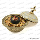 Small Mother of Pearl Carved Brass Bowl Resin Incense Charcoal Burner (BOWL28)