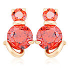 Gold Filled Cat White/Red Crystal Womens Stud Earrings Freeshipping