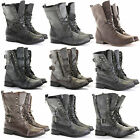 CHILDRENS GIRLS KIDS MILITARY COMBAT ARMY STYLE WORKER LACE UP ANKLE BOOTS