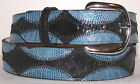 Genuine Black & Blue Lizard Skin Belt sizes 24 to 48