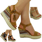 NEW WOMENS LADIES TASSEL ANKLE Zip ESPADRILLES HIGH WEDGE SHOES SANDALS SIZE