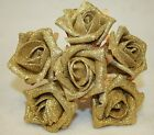 6 Stem Glittered Foam Roses Wedding Bouquet Flowers