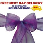 Dark PURPLE ORGANZA SASHES Wider Chair Cover Decoration Fuller Bow Wedding Party