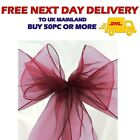 BURGUNDY ORGANZA SASHES Wider Chair Cover Decor Fuller Bow Wedding Anniversary