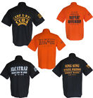 ALCATRAZ SAN SING PRISON BIKER FANCY MENS SHIRT BLACK ORANGE
