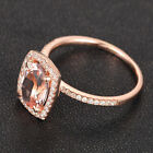 Cushion Halo Diamonds Oval Cut 6x8mm Morganite Solid 14K Gold Wedding Ring