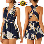 Sexy Women Floral Sleeveless Playsuit Jumpsuit Shorts Party Summer Trousers