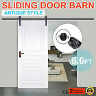 6.6FT Black Sliding Barn Wood Door Gear Kit Door Track Rail Hardware Set On Sale