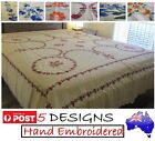 HAND CRAFTED EMBROIDERED NEEDLEWORK FLAT BED SHEET LINEN-100%COTTON-3 PIECE SET image