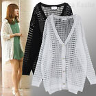 AnnaKastle Womens Oversized Summer Crocheted Sweater Cardigan White Black M - L