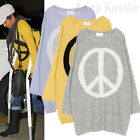AnnaKastle New Womens Crewneck Loose Fit Peace Sign Boyfriend Sweater Pullover