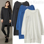 AnnaKastle Womens Casual Cute Pocket Sweatshirt Dress Hi Lo Hem Long Top M - L