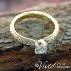 14k Yellow Gold Engagement Ring 0.91 TCW Real Diamond VS-SI/F-G Size 6 Enhanced