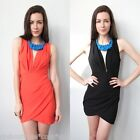 sale forever hot plunge NECKLINE CUT OUT WRAP COCKTAIL BODYCON DRESS 6 12 new