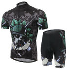 Men Skull Cycling Quick-dry Top Pant Sets Hiking Camping Riding Jersey Suits