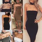 SEXY STRAPLESS TUBE BODYCON SLIM FITTED PENCIL MIDI KNEE LENGTH DRESS CLUBWEAR