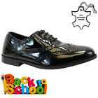 GIRLS KIDS REAL LEATHER JUNIOR CASUAL BLACK LACE SCHOOL TRAINERS SHOES SIZE