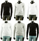 [FREE SHIP] New Mens Long Sleeve Plain 100% Cotton T-Shirts V-Neck & R-Neck Tops