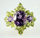 Genuine Amethyst + Peridot Ring 4.98CTTW 925 Sterling Silver Great Combination