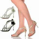 WOMENS LADIES HIGH HEEL T-BAR DIAMANTE WEDDING STRAPPY EVENING PROM SANDALS SIZE