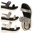 LADIES PLATFORM MID HEEL DIAMANTE GLITTERY CHUNKY SLINGBACK OPEN TOE SANDALS