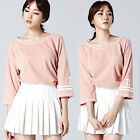 """2NEFIT"" Korea Women`s Clothes Fashion T-006 3/4 Sleeve Three Quarter T Shirts"