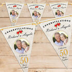 Personalised Golden 50th Wedding Anniversary PHOTO Flag Banner Bunting - N62