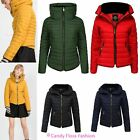 New Ladies Womens Quilted Padded Puffer Bubble Fur Collar Warm Thick Jacket Coat