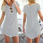 Summer Women Stripes Short Sleeve Crew Round Casual Irregular Mini Dress Blouse