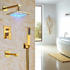 "8"" Bathtub Rainfall Shower Faucet LED Light Wall Mount Gold Polishe Mixer Tap"