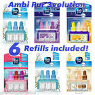 6 x AMBI PUR FEBREZE 3VOLUTION AIR FRESHENER REFILLS - various scents available!