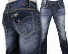 MEK Denim Jeans Men's KHORA Relaxed Dark Blue Straight saddle stitch M1KHORRM4T