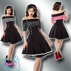 ROCKABILLY KLEID XS-3XL 50ER JAHRE MARINE CARMEN VINTAGE RETRO STRIPES DOTS 41