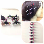 12PCS Girls Sweet Crystal Rhinestone Flower Mini Hair Claws Clips Pin Clamps Lot